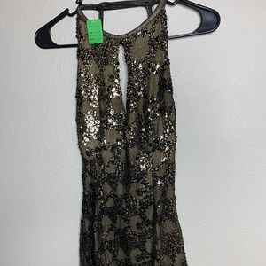 Gold and black sequins cocktail dress